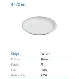 PLATO CHOC PLASTICO 17 CM. BOLSA 100 UNIDADES