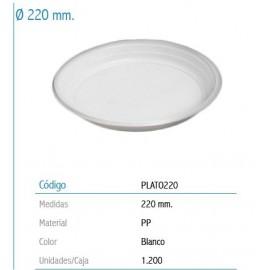 PLATO CHOC PLASTICO 22 CM. BOLSA 100 UNIDADES