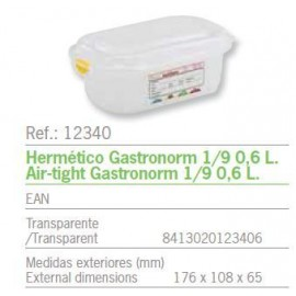 HERMETICO GASTRONORM 1/9 0,6 L. REF: 12340