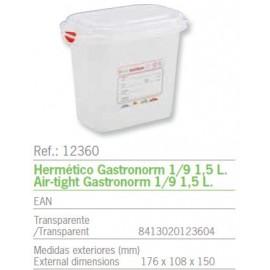 HERMETICO GASTRONORM 1/9 1,5 L. REF: 12360