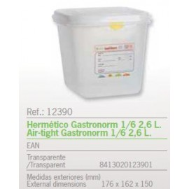 HERMETICO GASTRONORM 1/6 2,6 L. REF: 12390