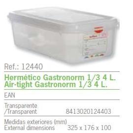 HERMETICO GASTRONORM 1/3 4 L. REF: 12440