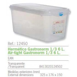 HERMETICO GASTRONORM 1/3 6 L. REF: 12450